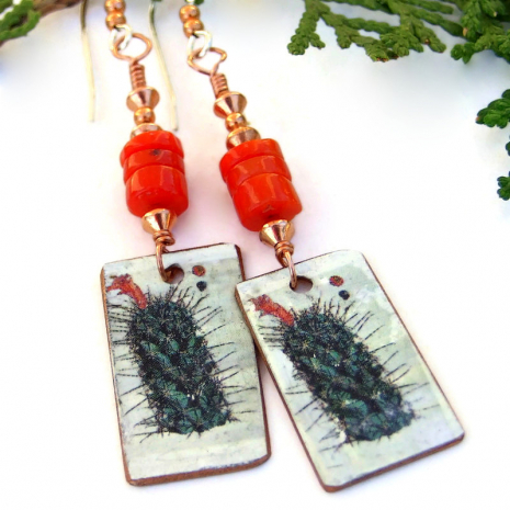 vintage look cactus earrings red coral