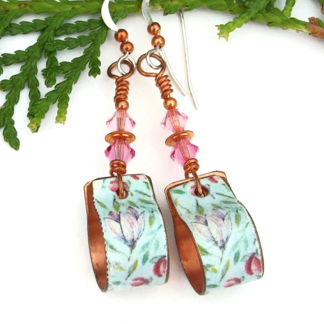 vintage look copper floral flower hoop earrings with swarovski crystals