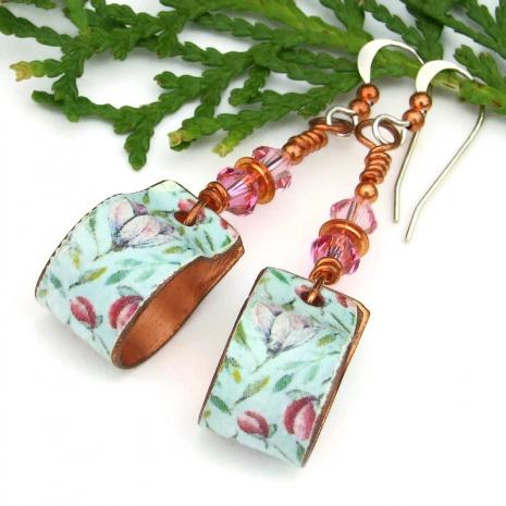 vintage look copper floral flower hoop jewelry with swarovski crystals
