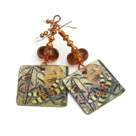 vintage look dragonfly and bamboo dangle earrings gift for women