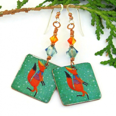 vintage look red fox christmas holiday earrings