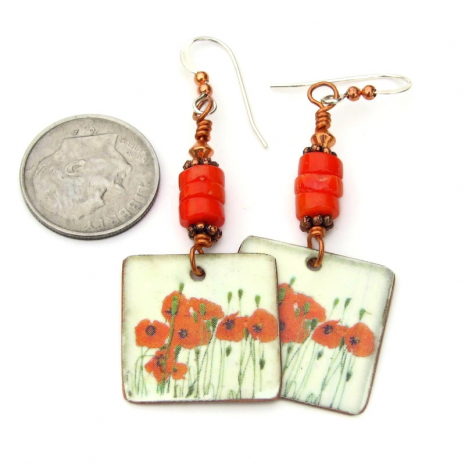 vintage look red poppies handmade earrings gift for her