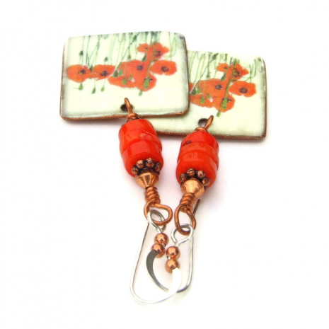 vintage look red poppies handmade jewelry gift for her