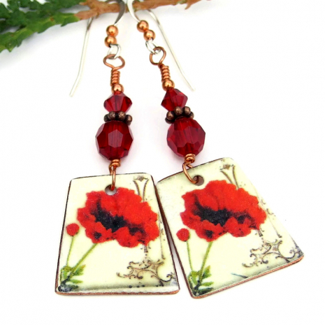 vintage look red poppy earrings with Swarovski crystals