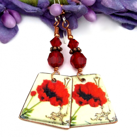 vintage look red poppy jewelry with Swarovski crystals