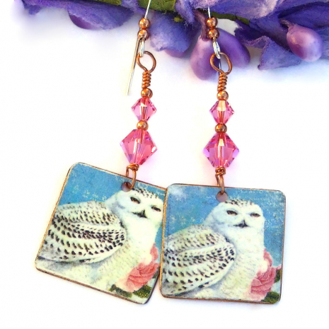 vintage look snowy owl on copper jewelry