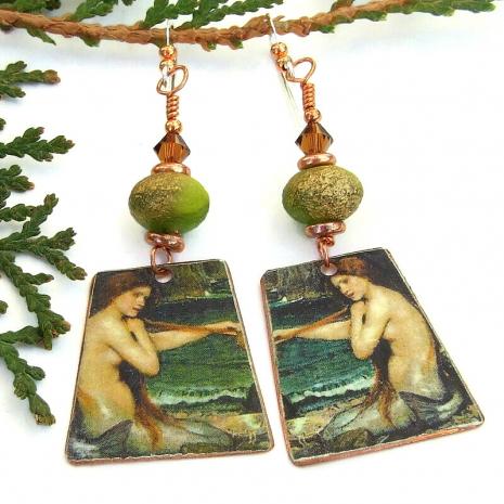 vintage look the mermaid art earrings john william waterhouse