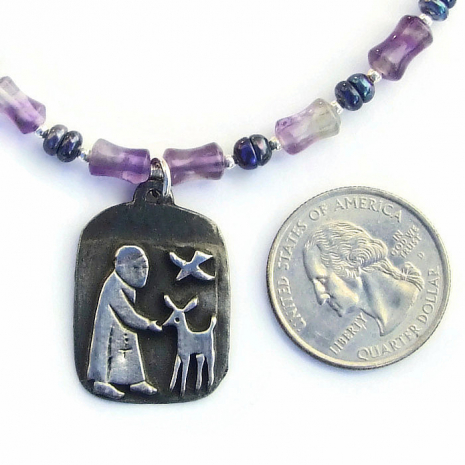 st francis jewelry with amethyst and pearls