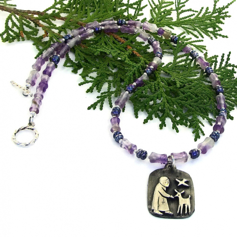 st francis necklace with amethyst and pearls
