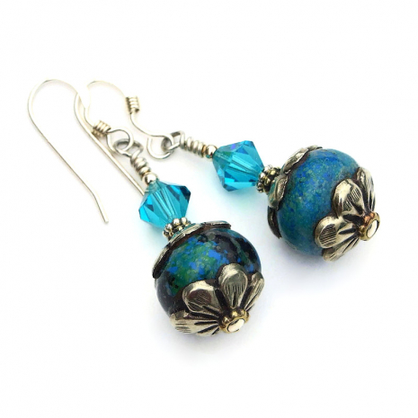 vintage tibetan azurite bead jewelry gift for women
