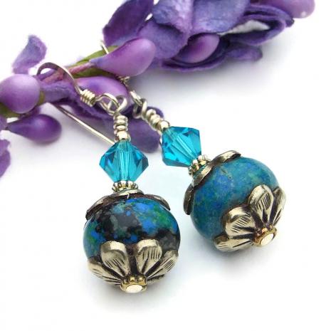 vintage tibetan bead earrings with swarovski crystals