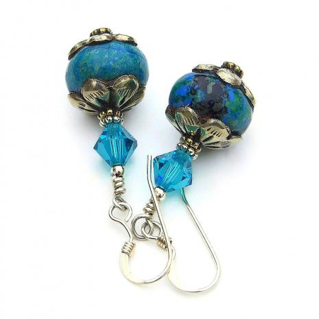 vintage tibetan bead jewelry with swarovski crystals
