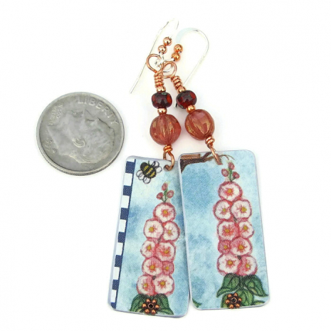 lightweight flower earrings from a vintage cookie tin