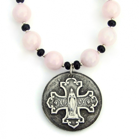 virgin mary catholic necklace gift for women