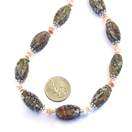 Elegant handmade jasper and shell necklace.