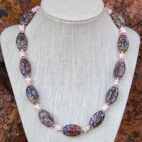 Handmade leopardskin jasper necklace for women.