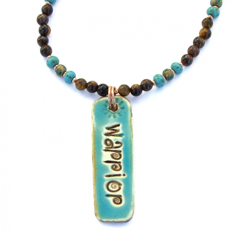 Turquoise ceramic warrior pendant necklace with gemstones