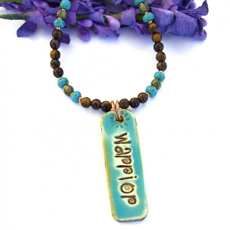 Turquoise and brown handmade necklace