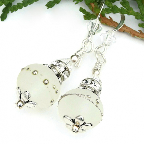 frosted white lampwork bride earrings for a wedding
