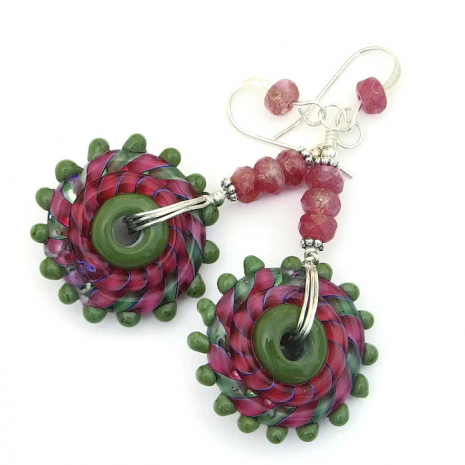 Pink and green handmade earrings.