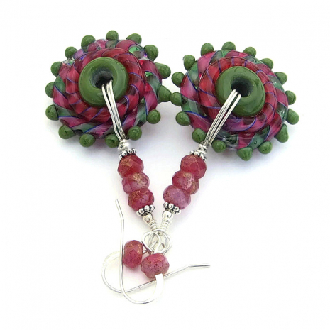 Whirlygig handmade lampwork glass earrings.