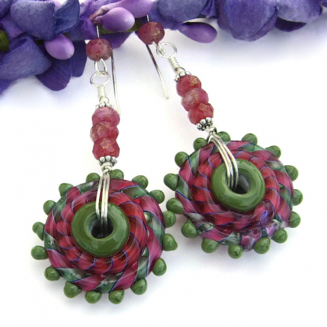 Pink and green boho earrings for women.