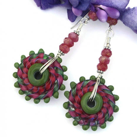 One of a kind lampwork earrings - boho jewelry gifts.