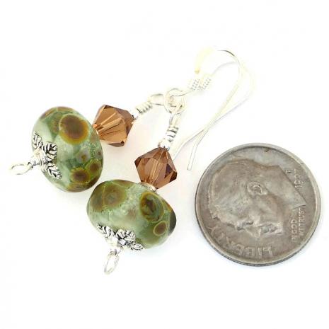 One of a kind light mossy green lampwork dangle earrings.