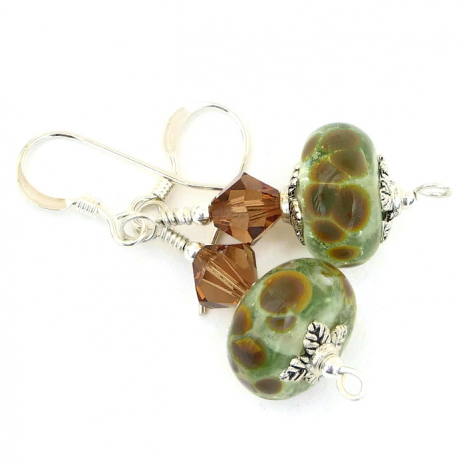 Handmade lampwork earrings.