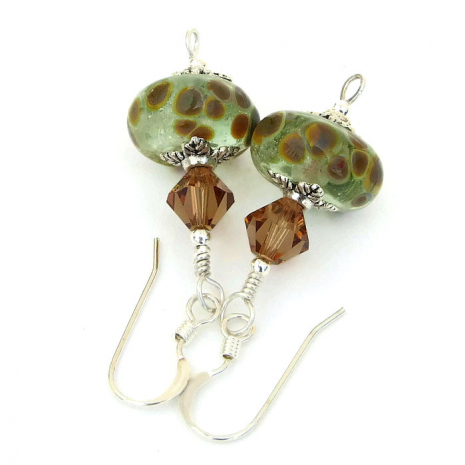 Green and brown lampwork glass earrings.