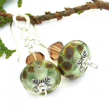 Earthy lampwork earrings for women.