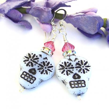 white black and pink skull earrings gift for her