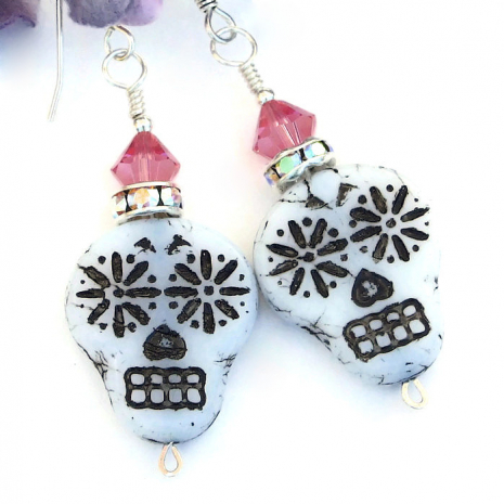 white black and pink skulls jewelry gift for her