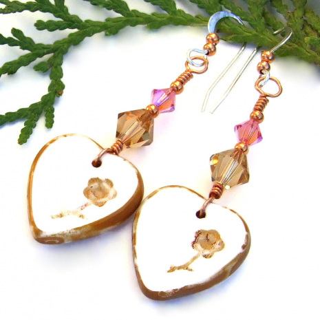 white hearts flowers jewelry with swarovski crystals valentines gift