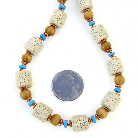 white pumice rock handmade jewelry wood turquoise magnesite copper