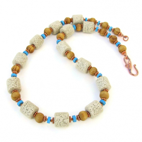 white pumice rock handmade necklace wood turquoise magnesite copper