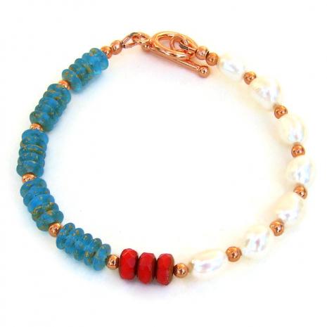 white red aqua copper handmade jewelry gift for women