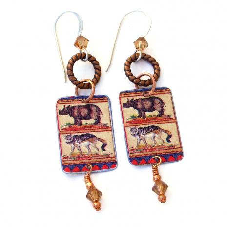 wild animals dangle earrings gift for women