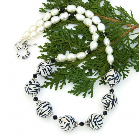 Black and white animal print necklace