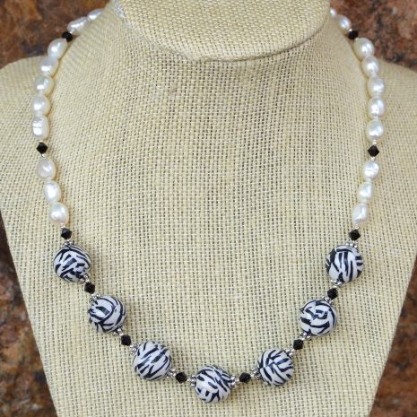 One of a kind black and white zebra striped necklace.
