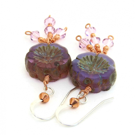 Purple pansy flower earrings.