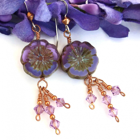 Flower and Swarovski crystal earrings for women.