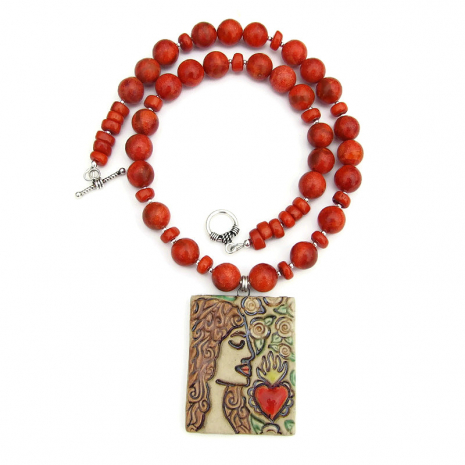 woman and sacred heart jewelry with coral - gift for women
