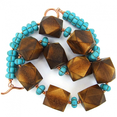 Dramatic wooden necklace, one of a kind jewelry.