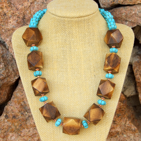Boho wood and gemstone necklace.