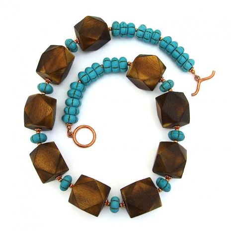 Chunky wood and turquoise magnesite necklace.
