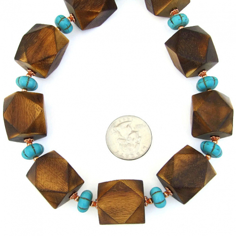 Wood and magnesite chunky, boho necklace.