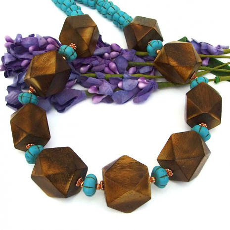 Chunky wood necklace.
