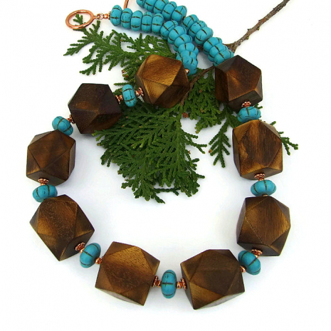 Boho wood jewelry for women