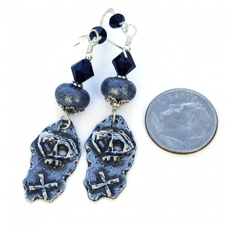 handmade skull earrings for pirate women